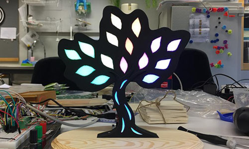 One of the devices that helps stroke survivors recover, a tree with lights